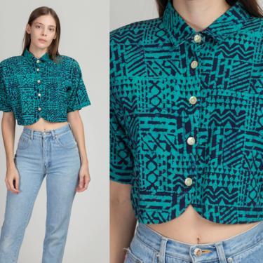 80s Batik Cropped Button Up Shirt - Medium | Vintage Oversize Blue Short Sleeve Collared Crop Top by FlyingAppleVintage