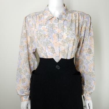 "Vintage 80s Pastel Floral Blouse ~ Silky Jacquard Blouse Top ~ Women's Large 42"" Bust Long Wide Sleeve Button Down Shirt Secretary Blouse by SoughtClothier"