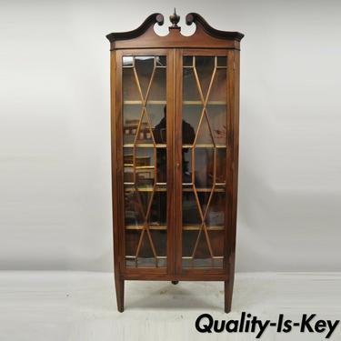 Antique English Georgian Style Mahogany Corner China Cabinet Display Case Curio