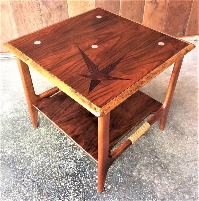 VINTAGE MCM 1950's LANE CONSTELLATION  SIDE END TABLE W/SHELF DANISH MODERN