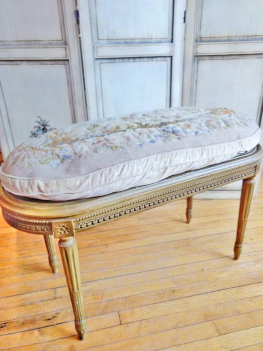 Vintage French Louis XVI style cane seat cushioned bench by LazyDogAntiqueStore