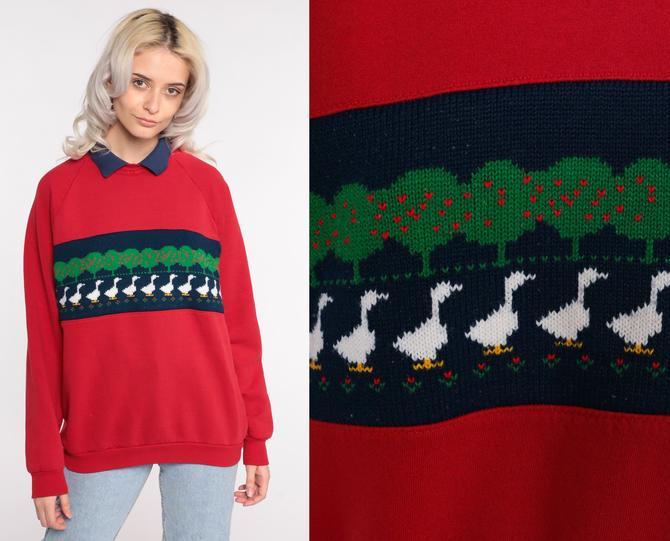 Duck Sweatshirt Collared Kawaii Sweatshirt 80s Farm Animal Sweatshirt 90s Vintage Red Slouchy Apple Tree Graphic Raglan Sleeve Medium Large by ShopExile