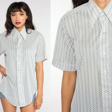 White Striped Shirt 70s Shirt Grey Short Sleeve Boho Top Geek Nerd Button Up 1970s Collared Vertical Stripe Large xl l by ShopExile