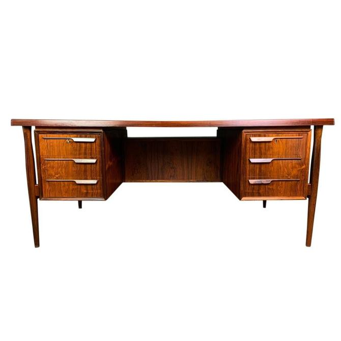 Vintage Danish Mid Century Modern Rosewood Executive Desk by Arne Vodder by AymerickModern