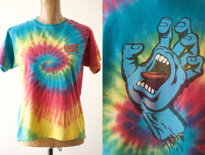 90s Vintage SANTA CRUZ SKATEBOARDS Screaming Hand Tie Dye T-Shirt, The Original Og Jim Phillips 1986 Artwork Rainbow Skate Tag Size L 14/16 by MOBIUSMOD