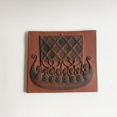 Vintage Danish Thyssen Keramik 'Viking Boat' Terracotta Tile by SabineVintageHome