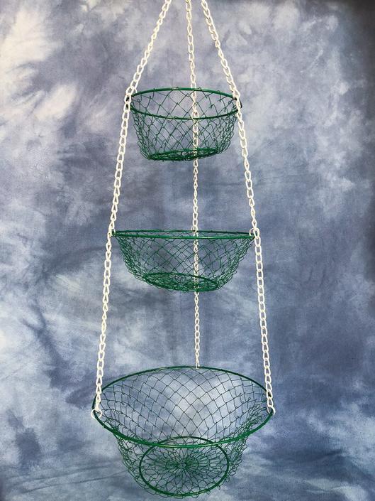 Vintage Three Tier Hanging Basket, Red White Powder Coat, Farmhouse ...
