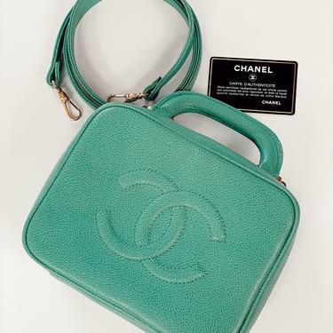 Vintage CHANEL CC Logo GREEN Caviar Leather Train Case Purse Bag Clutch Vanity 2 Way with Shoulder Crossbody Strap by MoonStoneVintageLA