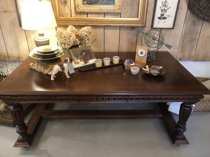 Renaissance Revival Carved Walnut Library Table or Desk, LOCAL Aldie VA Pick Up Only.  SHIPPING Extra by RustandRefind