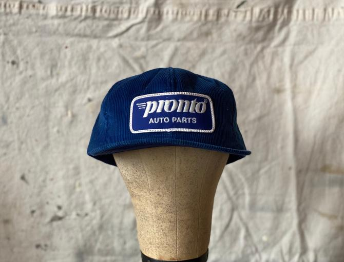 Vintage 1980s Pronto Auto Parts Snapback Corduroy Hat K Products by NorthGroveAntiques