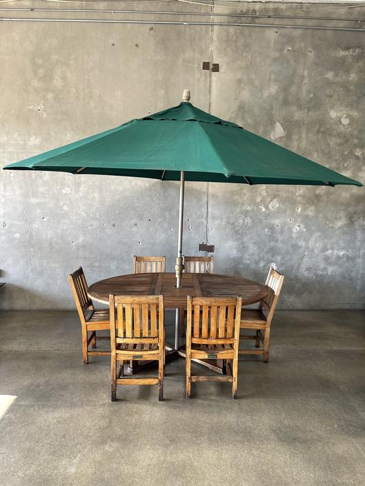 Teak Wood Patio Table & Chairs Set with Umbrella