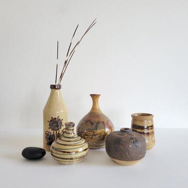 Assorted Vintage Brown Ceramic Bud Vases, Eclectic Mid-Century Pottery by CivilizedCrow