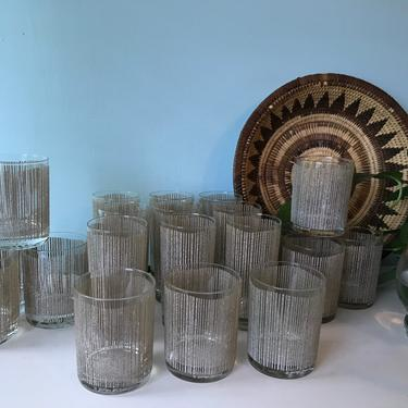 Bar Glasses Large Set 20 pieces Century Georges  Briard Icicles Highball Tumblers, Cocktail Glasses by VintageCoreReStore