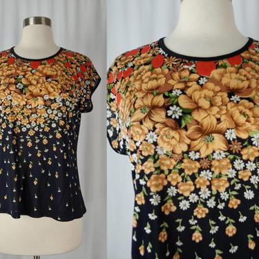 Vintage Seventies Floral Short Sleeve Shirt - 70s Silky Flower Print Blouse - Small - Medium T-Shirt by JanetandJaneVintage