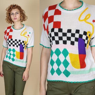 90s Colorful Pom Pom Sweater Top - Medium | Vintage Bright Geometric Short Sleeve Knit Pullover by FlyingAppleVintage