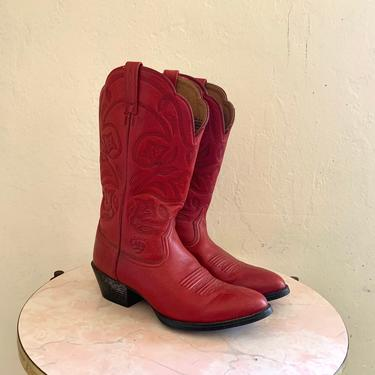 vintage red cowboy boots // red western boots // size 6.5 boot by HarlowsVintage