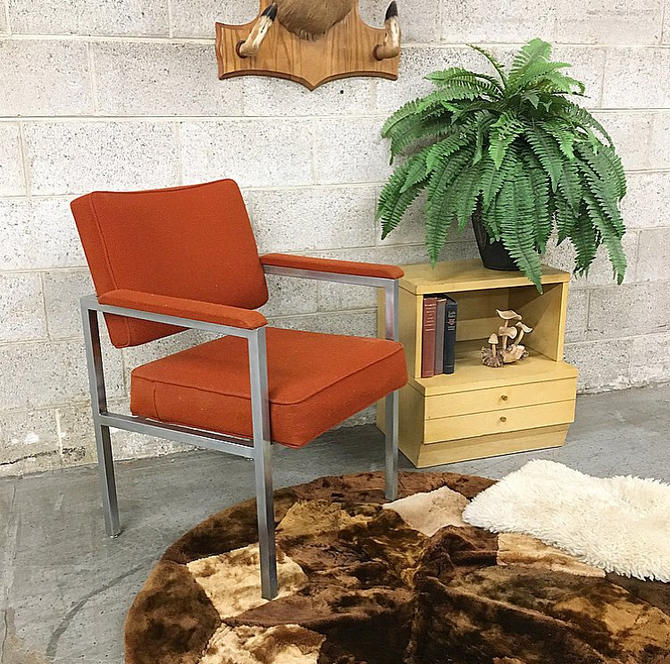 LOCAL PICKUP ONLY Vintage Metal Lounge Chair Retro 1980's Silver Metal Frame with Orange Tweed Office or Living Room Furniture by RetrospectVintage215
