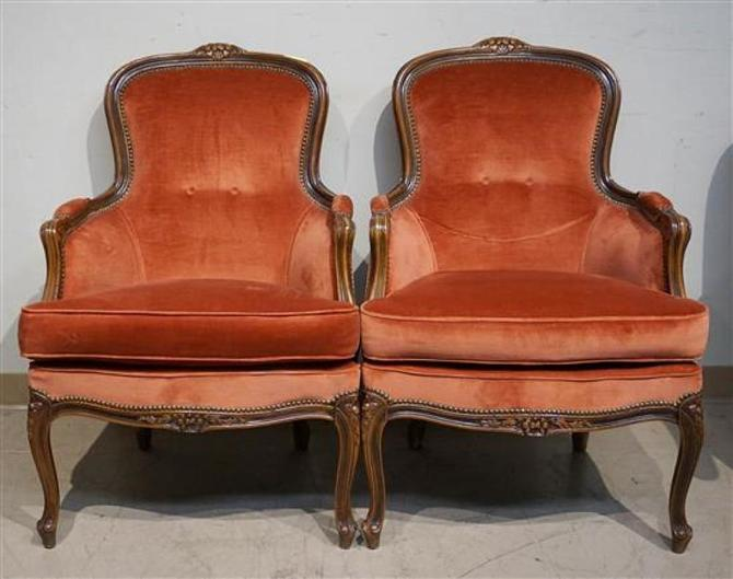 Pair of Louis XV Style Fauteuils Chairs