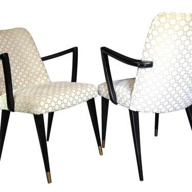 Set of 2 Italian Upright Lounge Chairs