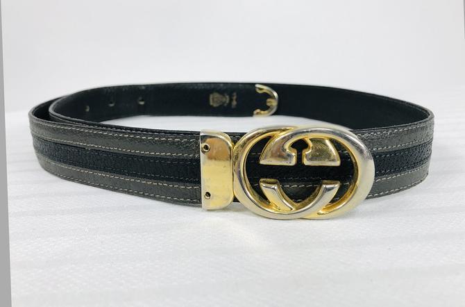Vintage Gucci Grey & Black Belt & Gold Buckle
