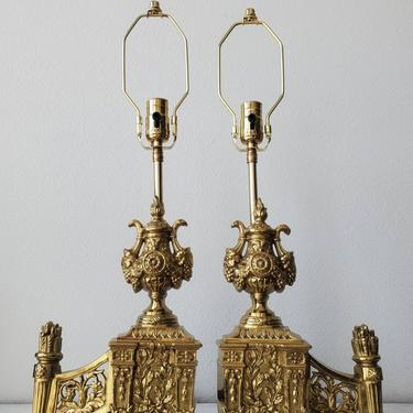 Pair of Antique French Neoclassical Louis XVI Style Gilt Brass Fireplace Chenets, Now Mounted As Table Lamps by LynxHollowAntiques