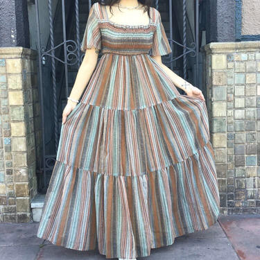 70's Ruched Maxi by laloupevintage