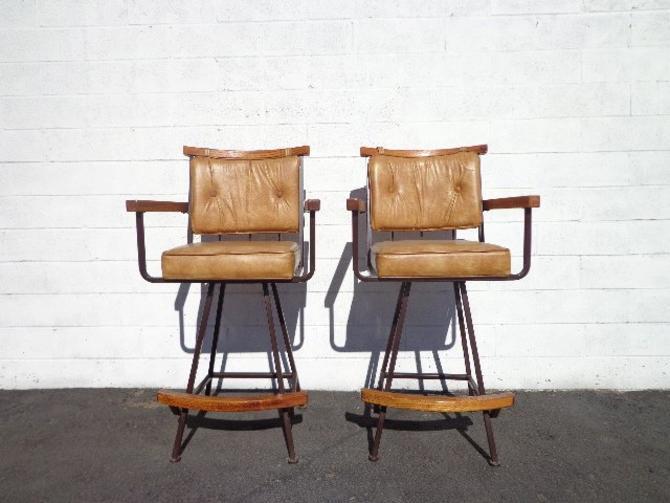 Pleasing Bar Stools Set Armchair Wood Metal Swivel Bohemian Boho Chic Pair Dining Chair Vintage Seating Mid Century Modern Vintage Furniture Bamboo By Cjindustries Chair Design For Home Cjindustriesco