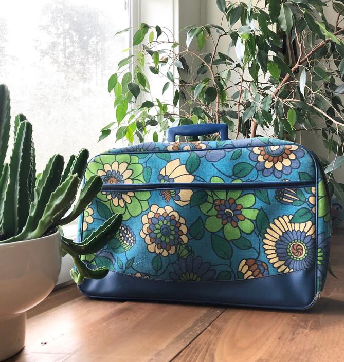 1960s Blue & Green Flower Power Mini Suitcase- made in Japan 12x18 inches by VeeVintageShop