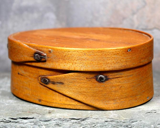 Antique Shaker Trinket Box - Oval Bentwood Single Lap Jointed - Bent Wood Pantry Box | FREE SHIPPING by Bixley