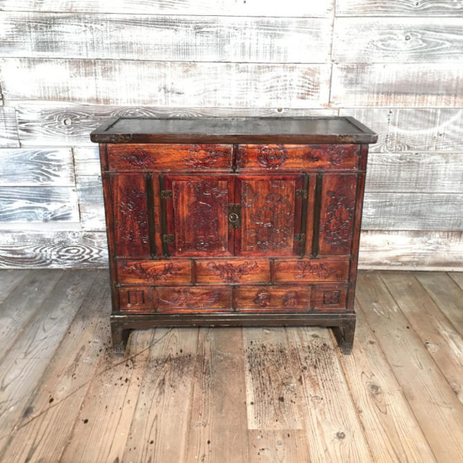 Chinese Cabinet w/ Low Carved Relief Decoration