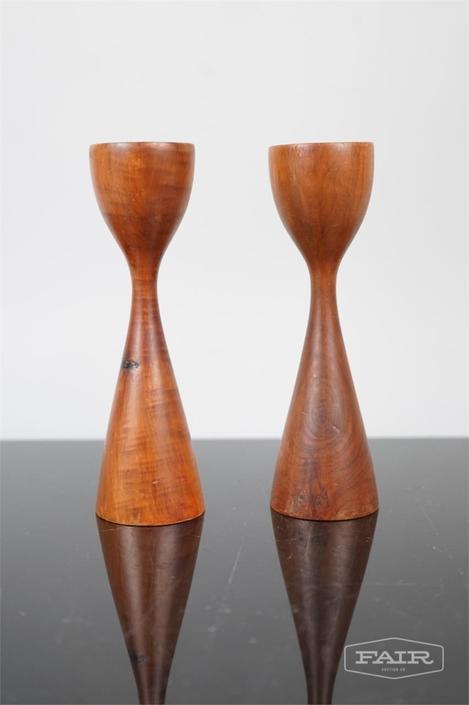 Pair of Walnut/Dark Wood Candleholders