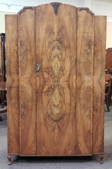 Item #S2072 Burl Walnut Deco Armoire c.1920