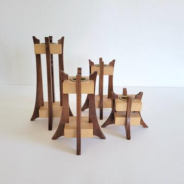 Vintage Mid-Century Wood Candle Holders, Set of 4 Geometric Wooden Candlesticks by CivilizedCrow