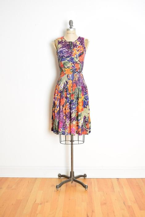 vintage early 90s dress colorful watercolor floral print gauze bloused mini S clothing by huncamuncavintage