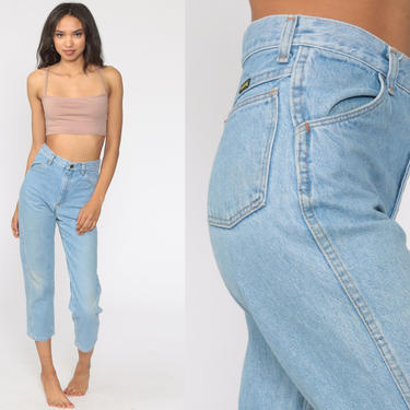 Mom Jeans 26 Jeans Ankle Mid Rise Waist Jeans 90s High Waisted Denim Pants Tapered 80s Vintage Blue Stone Wash Small by ShopExile