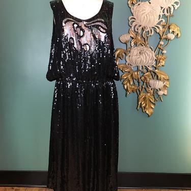 Judith ann dress, black sequin dress, vintage 80s dress, plus size dress, trompe l'oleil, beaded dress, flapper style, 80s cocktail dress by BlackLabelVintageWA