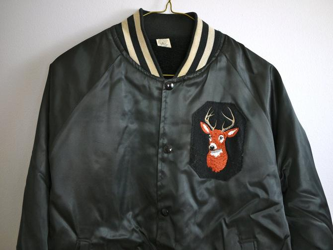 70s 80s Black Nylon Hunter's Deer/Buck Coat by citybone
