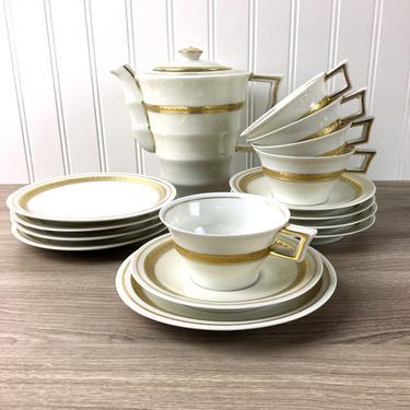 Theodore Haviland 16 piece dessert set - teapot, cups, saucers, side plates - Pate Ivoire - 1930s vintage by NextStageVintage