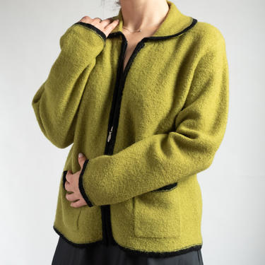 Green Wool Cardigan Sweater fits S - L by BeggarsBanquet