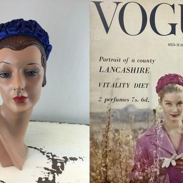 A Lancashire Beauty - Vintage 1960s Royal Blue Ruffled Satin Pill Box Hat by RoadsLessTravelled2