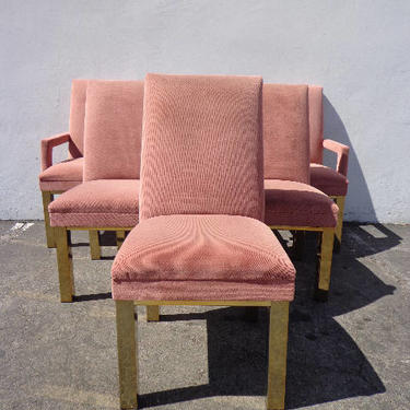6 Dining Chairs Milo Baughman DIA Brass Mid Century Modern MCM Hollywood Regency Pink Boho Chic Vintage Set of Chair Seating Armchair Design by DejaVuDecors