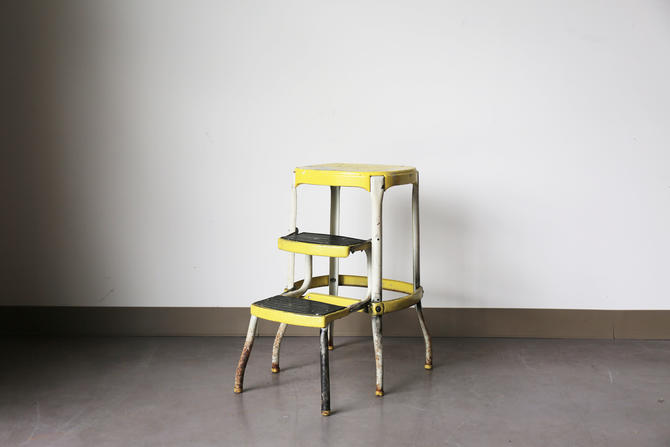 Magnificent Vintage Industrial Yellow Cosco Step Stool By Ocoug Best Dining Table And Chair Ideas Images Ocougorg