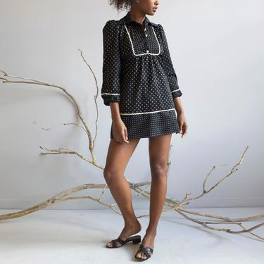 Black and White Polka Dots Babydoll prairie Dress / XS by EELT
