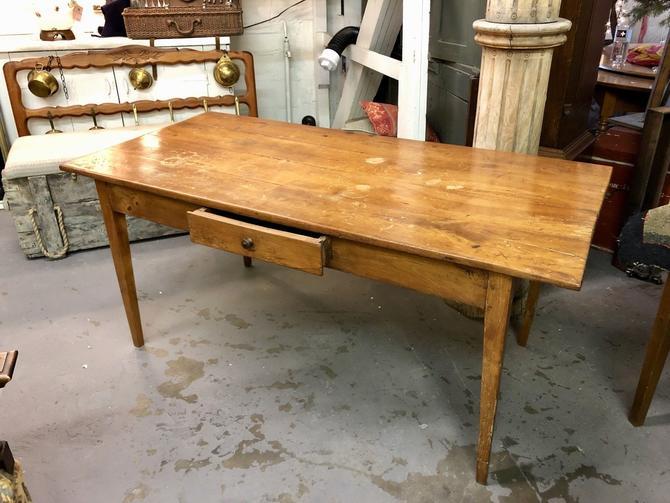 Antique American Pumpkin Pine Farmhouse Country Table Desk