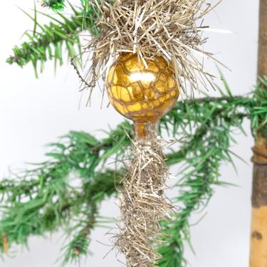 Antique Mercury Glass Ball in Tinsel Icicle and Spray Christmas Ornament, Vintage Victorian by exploremag