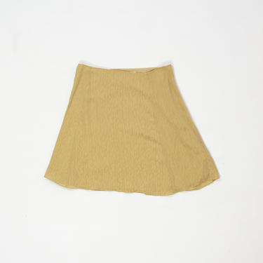 "Goldenrod Skirt — vintage silk skirt / minimalist 90s yellow wool mini skirt / 28"" high-waisted animal print jacquard a-line circle skirt by fieldery"