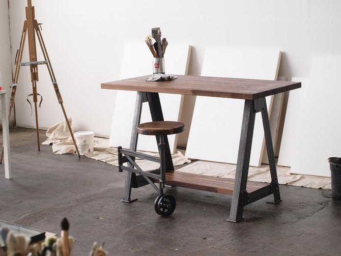Walnut Stand Up Sit Down Work Station Desk and stool by CamposIronWorks
