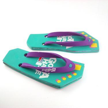 1980s Flip Flops Vintage Sandals Pepsi Gotta have it by purevintageclothing