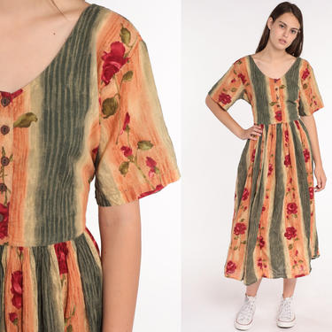 Floral Grunge Dress 90s Striped Floral Dress Button Up Boho Midi Rayon 1990s Orange High Waist Bohemian Short Sleeve Indian Large by ShopExile