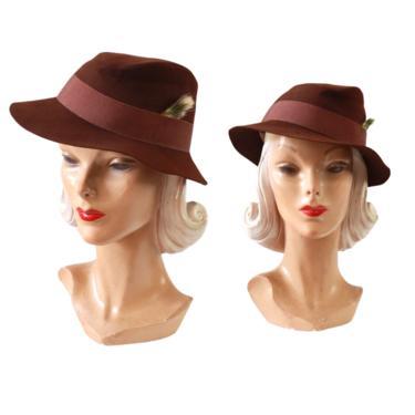 1940s Brown Fedora - 1940s Womens Fedora - Womens Brown Fedora - Vintage Brown Fedora - Vintage Fedora - 1940s Brown Hat - 1940s Womens Hat by VeraciousVintageCo